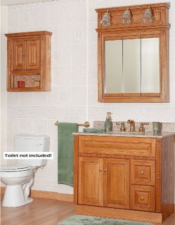 Newport Oak Bathroom 36 Vanity RH Drawers Medicine Cabinet Mirror