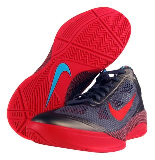 Nike Zoom Hyperfuse Low Sz 8 Mens Basketball Shoes Grey/Blue/Red