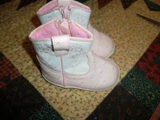 Beaver Creek Baby Toddler Girl Pink Zipper Cowboy Cowgirl Boots Size 3