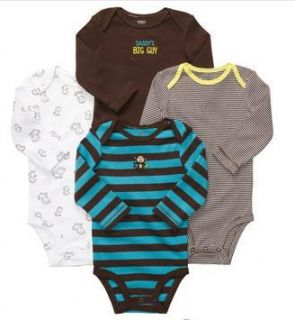Carters Baby Boy Clothes 4 Bodysuits Blue Brown Monkey 3 6 9 12 18 24