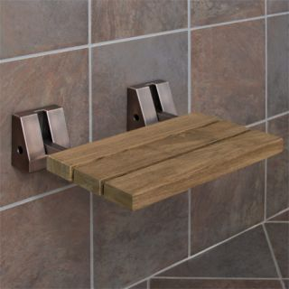 Wall Mount Teak Folding Shower Seat Oil Rubbed Bronze