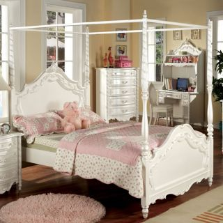 Victoria White Wood Four Post Canopy Twin or Full Bed