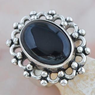 Mysterious Bejou Black Agate Silver Fashion Ring US Size 7 AR 166