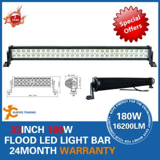 33 180W Flood Beam LED Alloy Work Light Bar 4WD Boat Ute Driving Lamp