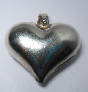 Vintage Puffy Heart Love Beautiful Sterling Silver Lovely Ladies