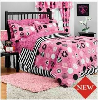 Full Candy Stripe Bed In Bag Pink Black And White Polka Dot Girls Teen