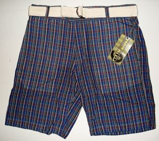 Berle Inverted 9 Mens Cotton Plaid Golf Shorts w Belt