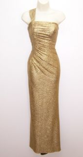Betsy & Adam Gold Metallic One Shoulder Ruched Formal Gown Dress 6 NWT