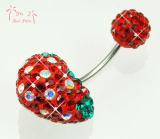 Crystal Juicy Red Strawberry Love Heart Navel Belly Ring Bar