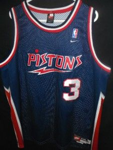 Authentic Sewn Nike Big Ben Wallace Detroit Pistons NBA Jersey Shirt