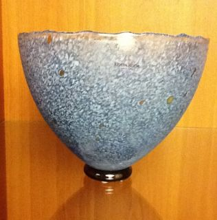 Kosta Boda Artist Signed Bertil Vallien Blue Glass Bowl