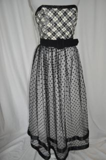 BILL BLASS EVENING Black White Sequin Beaded Tulle Polka Dot Ball Gown