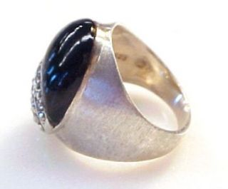 black onyx w marcasite accents sterling silver fashion ring size 5 75