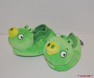 NEW KIDS TODDLER ANGRY BIRDS GREEN PIG SLIPPERS SIZE 9/10 11/12