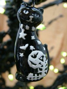 New Halloween Black Cat Ornament Moon Stars Bats Decor