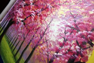 Large Pink Cherry Blossom Woods Original Modern Abstract Art Canvas