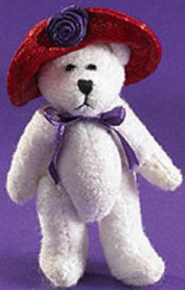 Red Hat Society Jointed White Tiny Teddy Bear Pin LQQK