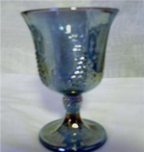 Blue Carnival Glass Wine Water Goblet Contemporary