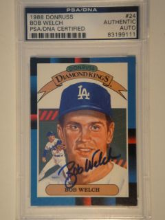 Bob Welch PSA DNA 1988 Donruss Diamond King Signed Card 24 DK