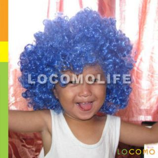 Afro Bob Hair Wig Clown Halloween Party Costume Blue