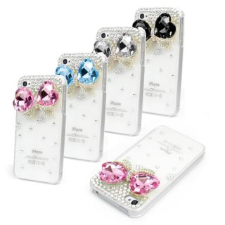 BLING DIAMANTE CASE COVER IPHONE 4 4S   DESIGNER 3D CRYSTAL RHINESTONE