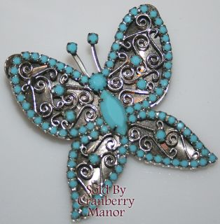 Vintage Blue Milk Glass Scroll Butterfly Brooch Pendant