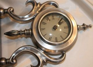 The Bombay Company Marble Base Pewter Art Deco Style Mantle Clock