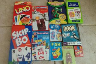Flash Cards and Games Rook Uno Skip Bo Go Fish Presidents Flags