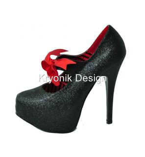 Bordello shoes Teeze 04G black glitter platform pumps heels satin bow