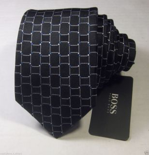 Boss Hugo Boss Black Label Mens Black w Silver Blue Geometric Slim Tie