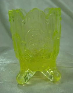 Fan Feather Toothpick Holder Yellow Vaseline Glass