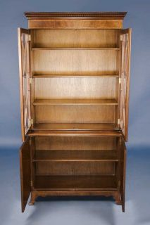 Antique Style Mahogany Glass Door Bookcase w Satinwood Inlays
