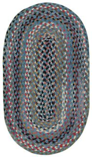 Capel Rugs Wool Oval Double Braided Area Rug St Johnsbury Medium Blue