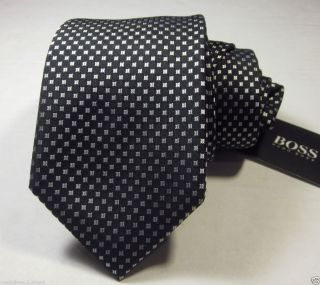 Boss Hugo Boss Black Label Mens Black W Silver Geometric Slim Tie