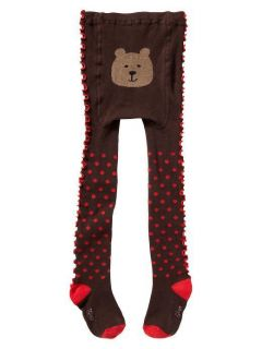NWT GIRLS BABY GAP RUFFLE TIGHTS BRANNAN BEAR BROWN RED POLKA DOTS 12