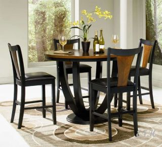 5pc Boyer Black Cherry Wood Counter Dining Table Set