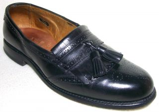 ALLEN EDMONDS BRIDGETON BLACK LEATHER TASSEL LOAFERS SHOES MENS US 9 D