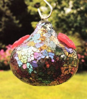 Bird Brain Sequin Green Purple Glass Hummingbird Feeder