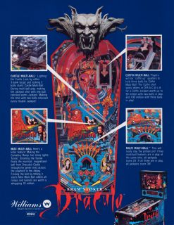Bram Stokers Dracula Pinball Machine by Williams with LED Lighting