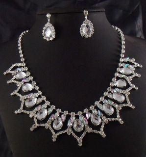 Wedding Bridesmaid Colorful Crystal Silver Necklace Jewelry sets 423