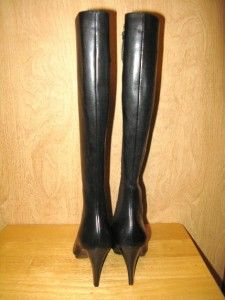 New $231 Calvin Klein Womens Brielle Knee High Cutout Leather Boots 6