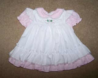 Bryan Baby Girls Pink White Dress Lace Trim Ruffled Hem Short Sleeve 0