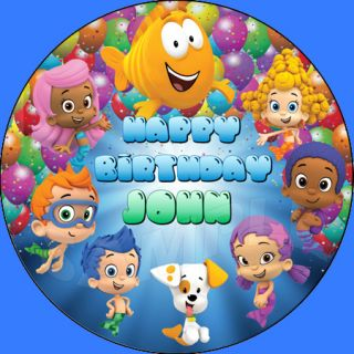 Bubble Guppies Personalized Round Edible Cake Image Topper Decoration