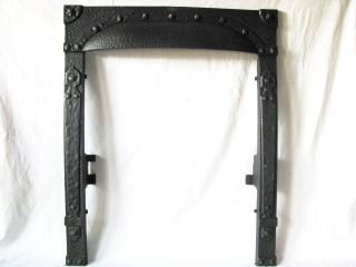 Antique Victorian Cast Iron Cahill Castle Style Fireplace Door Frame