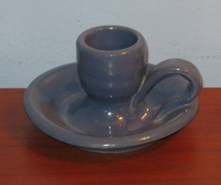 Bybee BB Art Pottery Blue Periwinkle Candlestick Candle Holder