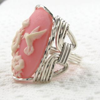 Hummingbird Pink Cameo Ring Sterling Silver Custom Jewelry