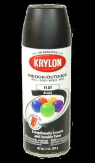Krylon 51602 Flat Black Color Aerosol Spray Paint Can