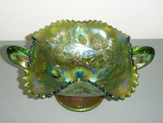 Antique Northwood Three Fruits Carnival Glass Bon Bon Footed Green