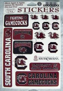 18 South Carolina Gamecocks Team Vinyl Decal Stickers