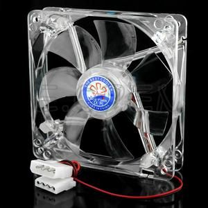 Crystal 120mm 4 Pin PC Case Cooler Cooling Blue LED Fan